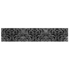 Damask1 Black Marble & Gray Leather (r) Flano Scarf (small)
