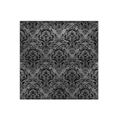 Damask1 Black Marble & Gray Leather (r) Satin Bandana Scarf