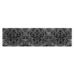 Damask1 Black Marble & Gray Leather (r) Satin Scarf (oblong)