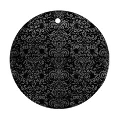 Damask2 Black Marble & Gray Leather Ornament (round)
