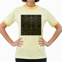 Damask2 Black Marble & Gray Leather Women s Fitted Ringer T Shirts