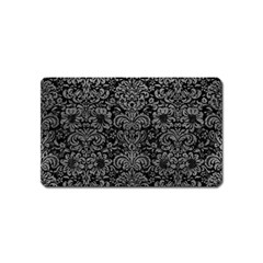 Damask2 Black Marble & Gray Leather Magnet (name Card)