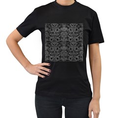 Damask2 Black Marble & Gray Leather Women s T Shirt (black) (two Sided)