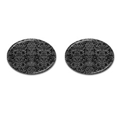 Damask2 Black Marble & Gray Leather Cufflinks (oval)