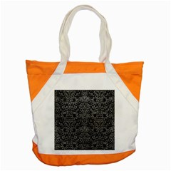 Damask2 Black Marble & Gray Leather Accent Tote Bag