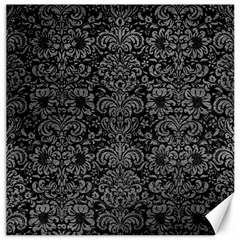 Damask2 Black Marble & Gray Leather Canvas 20  X 20