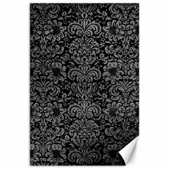 Damask2 Black Marble & Gray Leather Canvas 24  X 36