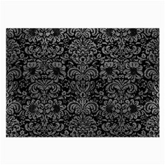 Damask2 Black Marble & Gray Leather Large Glasses Cloth