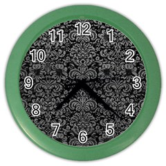 Damask2 Black Marble & Gray Leather Color Wall Clocks