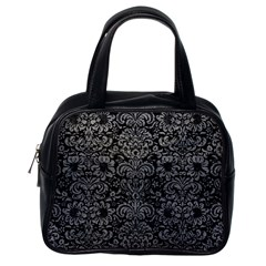 Damask2 Black Marble & Gray Leather Classic Handbags (one Side)
