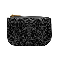 Damask2 Black Marble & Gray Leather Mini Coin Purses