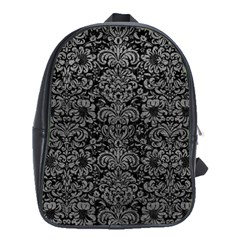 Damask2 Black Marble & Gray Leather School Bag (large)
