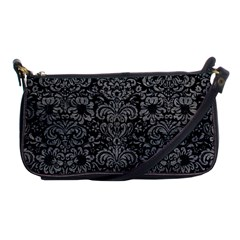Damask2 Black Marble & Gray Leather Shoulder Clutch Bags