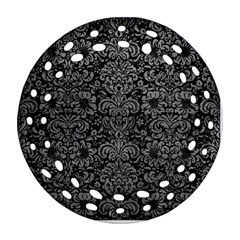 Damask2 Black Marble & Gray Leather Ornament (round Filigree)