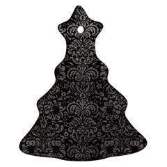 Damask2 Black Marble & Gray Leather Ornament (christmas Tree)