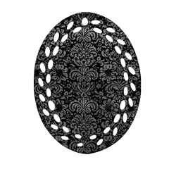 Damask2 Black Marble & Gray Leather Oval Filigree Ornament (two Sides)