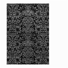 Damask2 Black Marble & Gray Leather Small Garden Flag (two Sides)