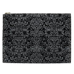 Damask2 Black Marble & Gray Leather Cosmetic Bag (xxl)