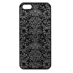 Damask2 Black Marble & Gray Leather Apple Iphone 5 Seamless Case (black)