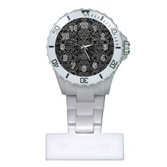 Damask2 Black Marble & Gray Leather Plastic Nurses Watch