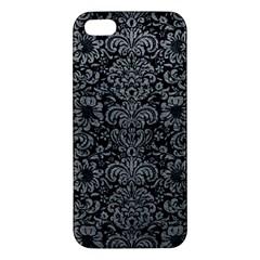 Damask2 Black Marble & Gray Leather Iphone 5s/ Se Premium Hardshell Case