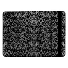 Damask2 Black Marble & Gray Leather Samsung Galaxy Tab Pro 12 2  Flip Case