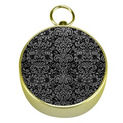 Damask2 Black Marble & Gray Leather Gold Compasses