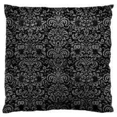 Damask2 Black Marble & Gray Leather Standard Flano Cushion Case (two Sides)