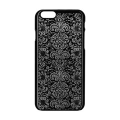 Damask2 Black Marble & Gray Leather Apple Iphone 6/6s Black Enamel Case