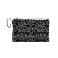 Damask2 Black Marble & Gray Leather Canvas Cosmetic Bag (s)