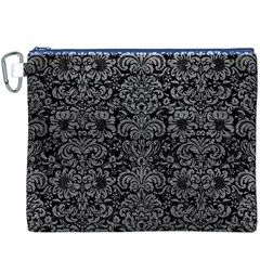Damask2 Black Marble & Gray Leather Canvas Cosmetic Bag (xxxl)