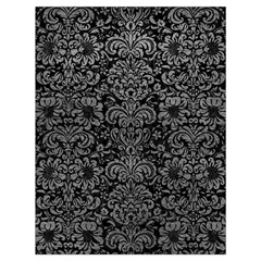 Damask2 Black Marble & Gray Leather Drawstring Bag (large)
