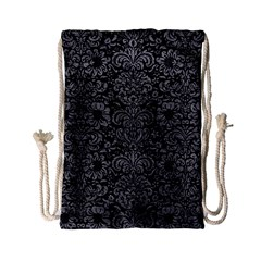 Damask2 Black Marble & Gray Leather Drawstring Bag (small)
