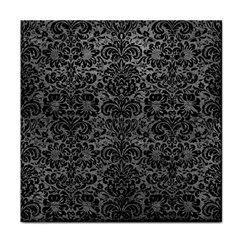 Damask2 Black Marble & Gray Leather (r) Tile Coasters
