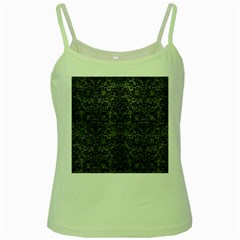 Damask2 Black Marble & Gray Leather (r) Green Spaghetti Tank