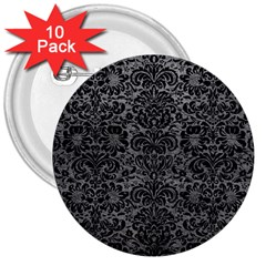 Damask2 Black Marble & Gray Leather (r) 3  Buttons (10 Pack)