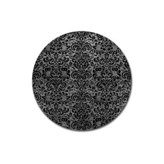 Damask2 Black Marble & Gray Leather (r) Magnet 3  (round)