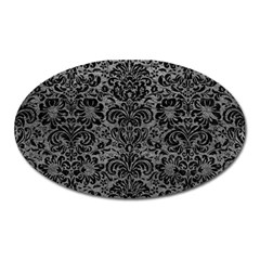 Damask2 Black Marble & Gray Leather (r) Oval Magnet