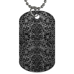 Damask2 Black Marble & Gray Leather (r) Dog Tag (two Sides)