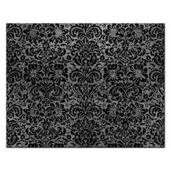 Damask2 Black Marble & Gray Leather (r) Rectangular Jigsaw Puzzl