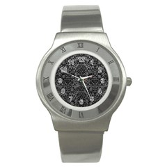 Damask2 Black Marble & Gray Leather (r) Stainless Steel Watch