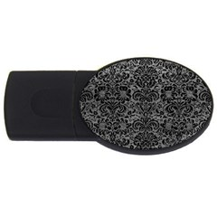 Damask2 Black Marble & Gray Leather (r) Usb Flash Drive Oval (4 Gb)
