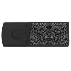 Damask2 Black Marble & Gray Leather (r) Rectangular Usb Flash Drive