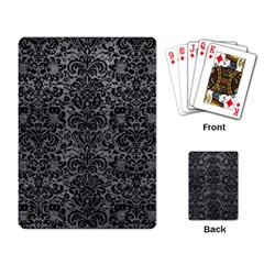 Damask2 Black Marble & Gray Leather (r) Playing Card