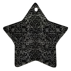 Damask2 Black Marble & Gray Leather (r) Star Ornament (two Sides)