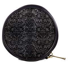 Damask2 Black Marble & Gray Leather (r) Mini Makeup Bags