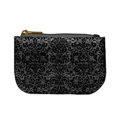 Damask2 Black Marble & Gray Leather (r) Mini Coin Purses