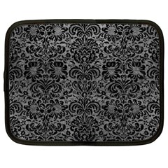Damask2 Black Marble & Gray Leather (r) Netbook Case (xxl)