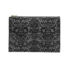 Damask2 Black Marble & Gray Leather (r) Cosmetic Bag (large)