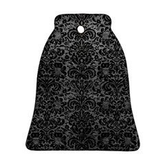 Damask2 Black Marble & Gray Leather (r) Ornament (bell)